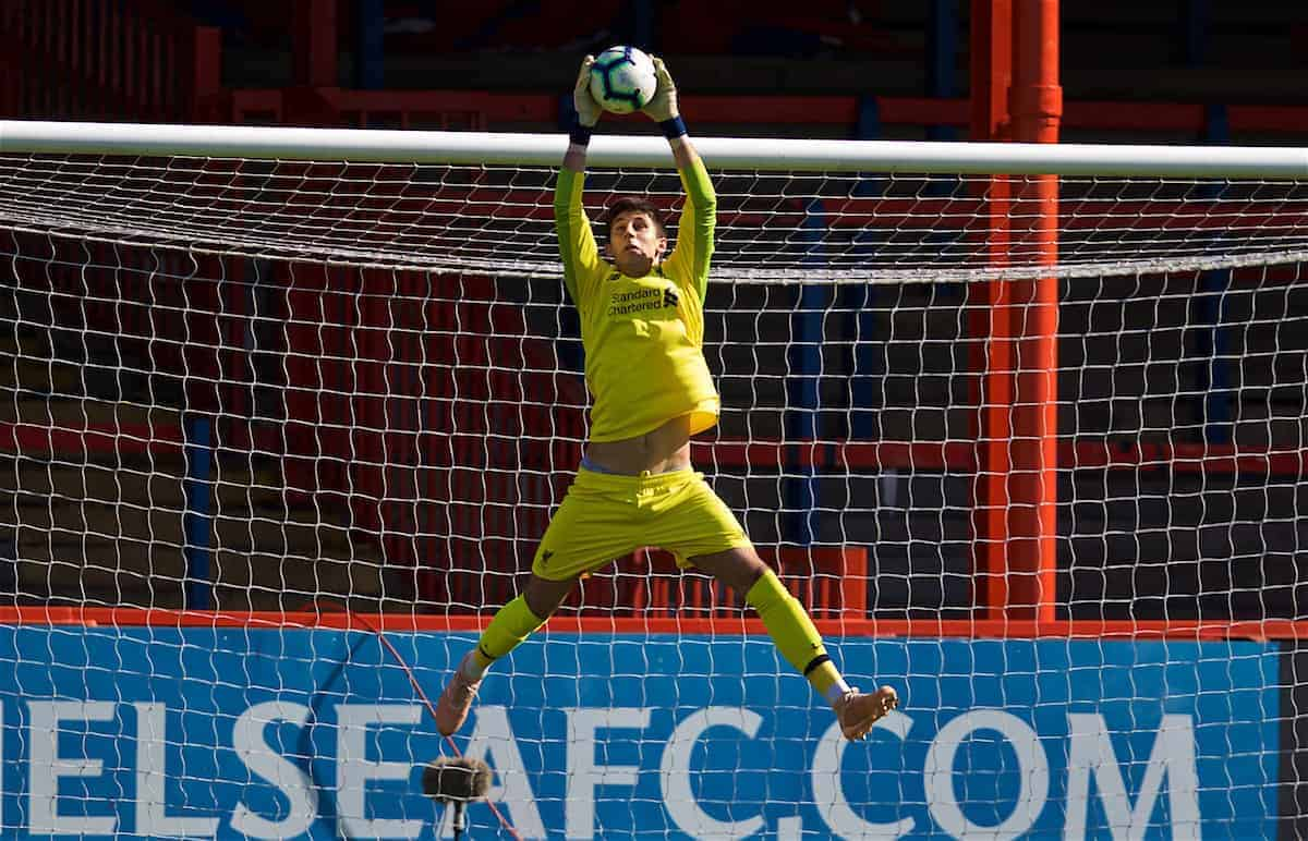 LONDON, ENGLAND - Saturday, September 29, 2018: Liverpool's goalkeeper Kamil Grabara makes save during the Under-23 FA Premier League 2 Division 1 match between Chelsea FC and Liverpool FC at The Recreation Ground. (Pic by David Rawcliffe/Propaganda)