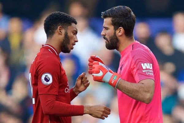 LONDON, ENGLAND - Saturday, September 29, 2018: Liverpool's goalkeeper Alisson Becker (right) and Joe Gomez before the FA Premier League match between Chelsea FC and Liverpool FC at Stamford Bridge. (Pic by David Rawcliffe/Propaganda)