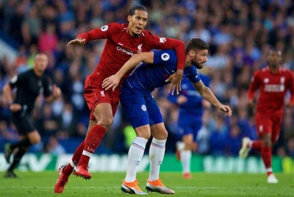 LONDON, ENGLAND - Saturday, September 29, 2018: Liverpool's Virgil van Dijk (left) and Chelsea's Olivier Giroud during the FA Premier League match between Chelsea FC and Liverpool FC at Stamford Bridge. (Pic by David Rawcliffe/Propaganda)