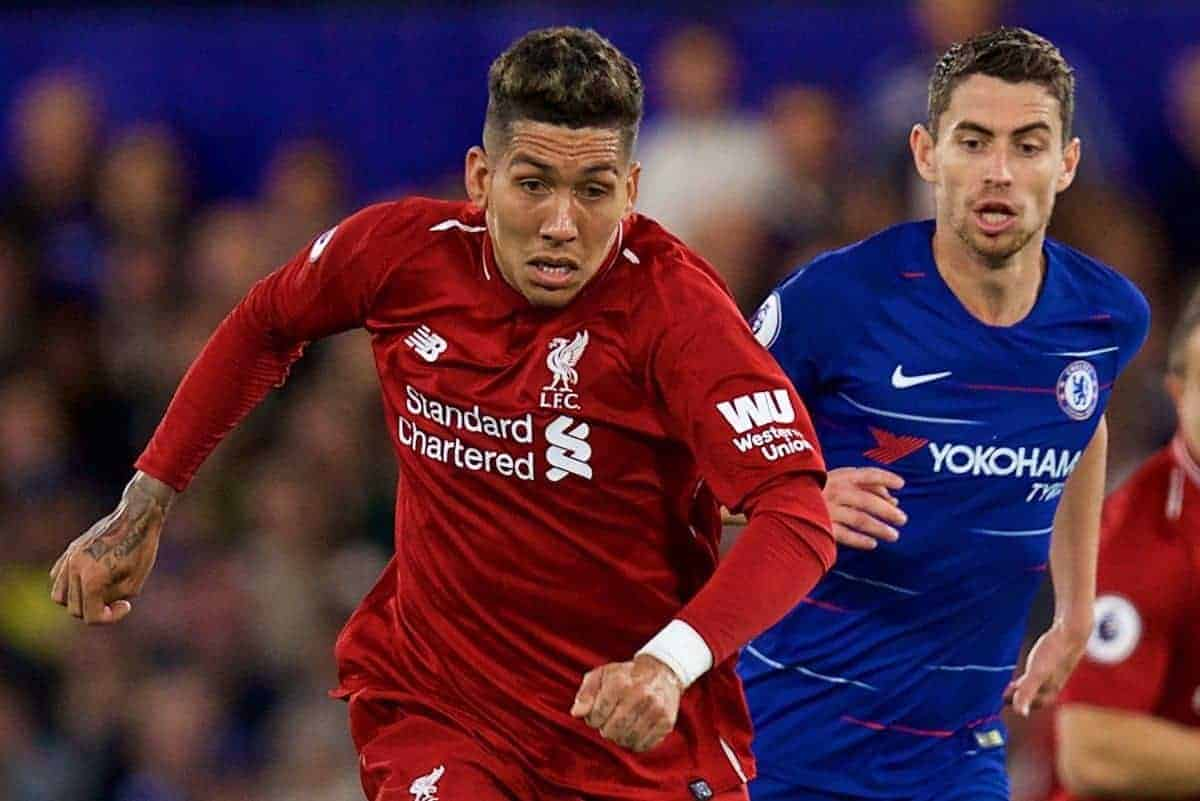 LONDON, ENGLAND - Saturday, September 29, 2018: Liverpool's Roberto Firmino during the FA Premier League match between Chelsea FC and Liverpool FC at Stamford Bridge. (Pic by David Rawcliffe/Propaganda)