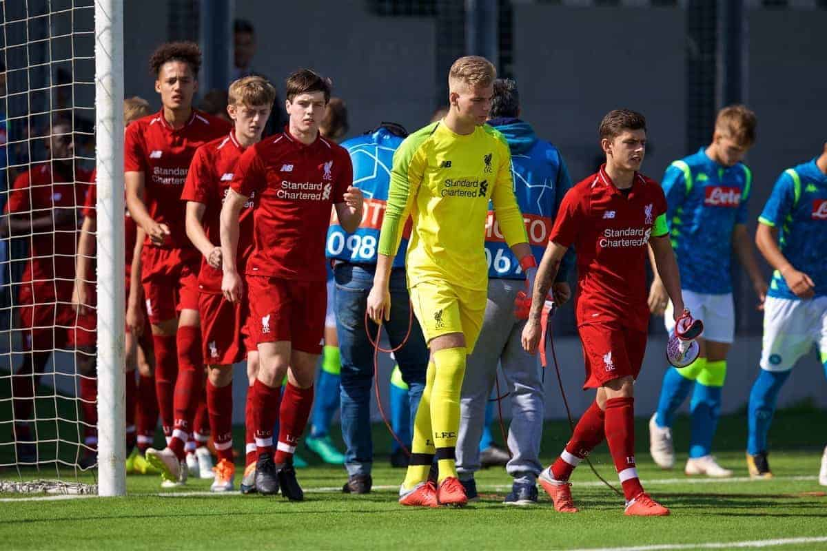 NAPLES, ITALY - Wednesday, October 3, 2018: Liverpool's captain Adam Lewis (R) leads his side out before the UEFA Youth League Group C match between S.S.C. Napoli and Liverpool FC at Stadio Comunale di Frattamaggiore. Liam Coyle, goalkeeper Vitezslav Jaros, captain Adam Lewis. (Pic by David Rawcliffe/Propaganda)