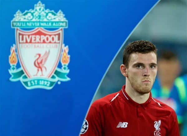 NAPLES, ITALY - Wednesday, October 3, 2018: Liverpool's Andy Robertson walks out before the UEFA Champions League Group C match between S.S.C. Napoli and Liverpool FC at Stadio San Paolo. (Pic by David Rawcliffe/Propaganda)