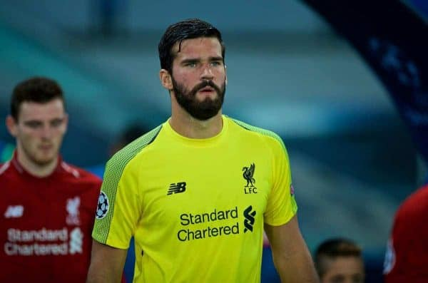 NAPLES, ITALY - Wednesday, October 3, 2018: Liverpool's goalkeeper Alisson Becker walks out before the UEFA Champions League Group C match between S.S.C. Napoli and Liverpool FC at Stadio San Paolo. (Pic by David Rawcliffe/Propaganda)
