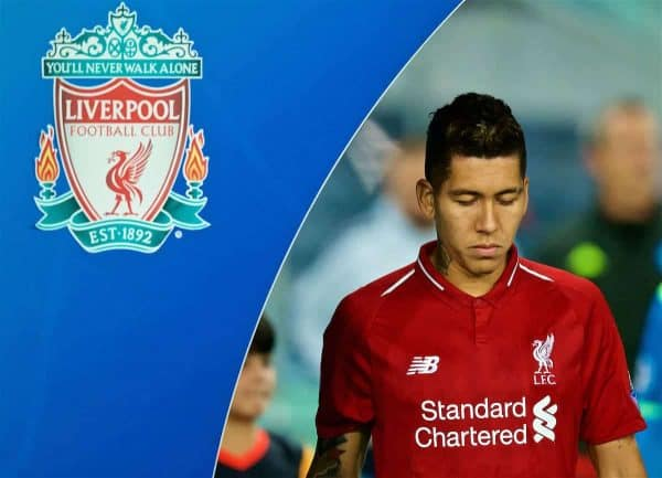 NAPLES, ITALY - Wednesday, October 3, 2018: Liverpool's Roberto Firmino walks out before the UEFA Champions League Group C match between S.S.C. Napoli and Liverpool FC at Stadio San Paolo. (Pic by David Rawcliffe/Propaganda)