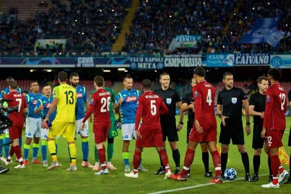 NAPLES, ITALY - Wednesday, October 3, 2018: Liverpool and Napoli players shake hands before the UEFA Champions League Group C match between S.S.C. Napoli and Liverpool FC at Stadio San Paolo. (Pic by David Rawcliffe/Propaganda)