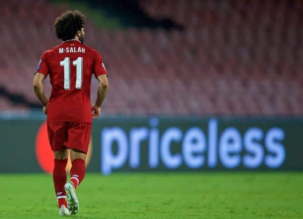 NAPLES, ITALY - Wednesday, October 3, 2018: Priceless... Liverpool's Mohamed Salah during the UEFA Champions League Group C match between S.S.C. Napoli and Liverpool FC at Stadio San Paolo. (Pic by David Rawcliffe/Propaganda)