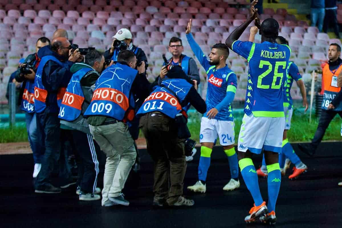 NAPLES, ITALY - Wednesday, October 3, 2018: Napoli's Lorenzo Insigne is surrounded by photographers after his goal sealed a 1-0 victory during the UEFA Champions League Group C match between S.S.C. Napoli and Liverpool FC at Stadio San Paolo. (Pic by David Rawcliffe/Propaganda)