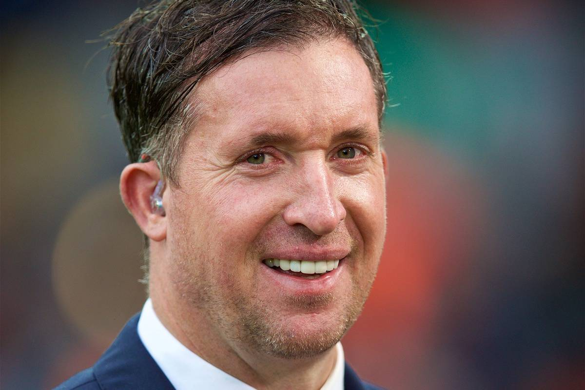 LIVERPOOL, ENGLAND - Sunday, October 7, 2018: Former Liverpool player Robbie Fowler, working for television before the FA Premier League match between Liverpool FC and Manchester City FC at Anfield. (Pic by David Rawcliffe/Propaganda)