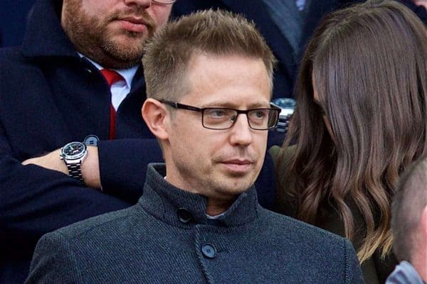 LIVERPOOL, ENGLAND - Sunday, October 7, 2018: Liverpool's Director of Football Michael Edwards during the FA Premier League match between Liverpool FC and Manchester City FC at Anfield. (Pic by David Rawcliffe/Propaganda)