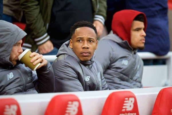 LIVERPOOL, ENGLAND - Sunday, October 7, 2018: Liverpool's unused player Nathaniel Clyne during the FA Premier League match between Liverpool FC and Manchester City FC at Anfield. (Pic by David Rawcliffe/Propaganda)