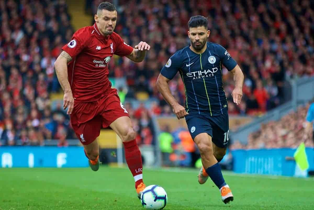 LIVERPOOL, ENGLAND - Sunday, October 7, 2018: Liverpool's Dejan Lovren (L) and Manchester City's Sergio Aguero during the FA Premier League match between Liverpool FC and Manchester City FC at Anfield. (Pic by David Rawcliffe/Propaganda)
