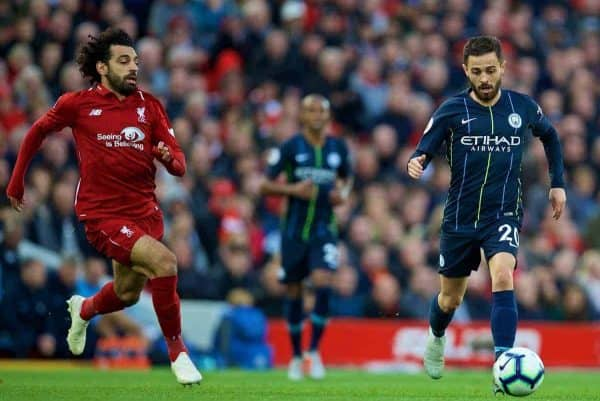LIVERPOOL, ENGLAND - Sunday, October 7, 2018: Manchester City's Bernardo Silva during the FA Premier League match between Liverpool FC and Manchester City FC at Anfield. (Pic by David Rawcliffe/Propaganda)