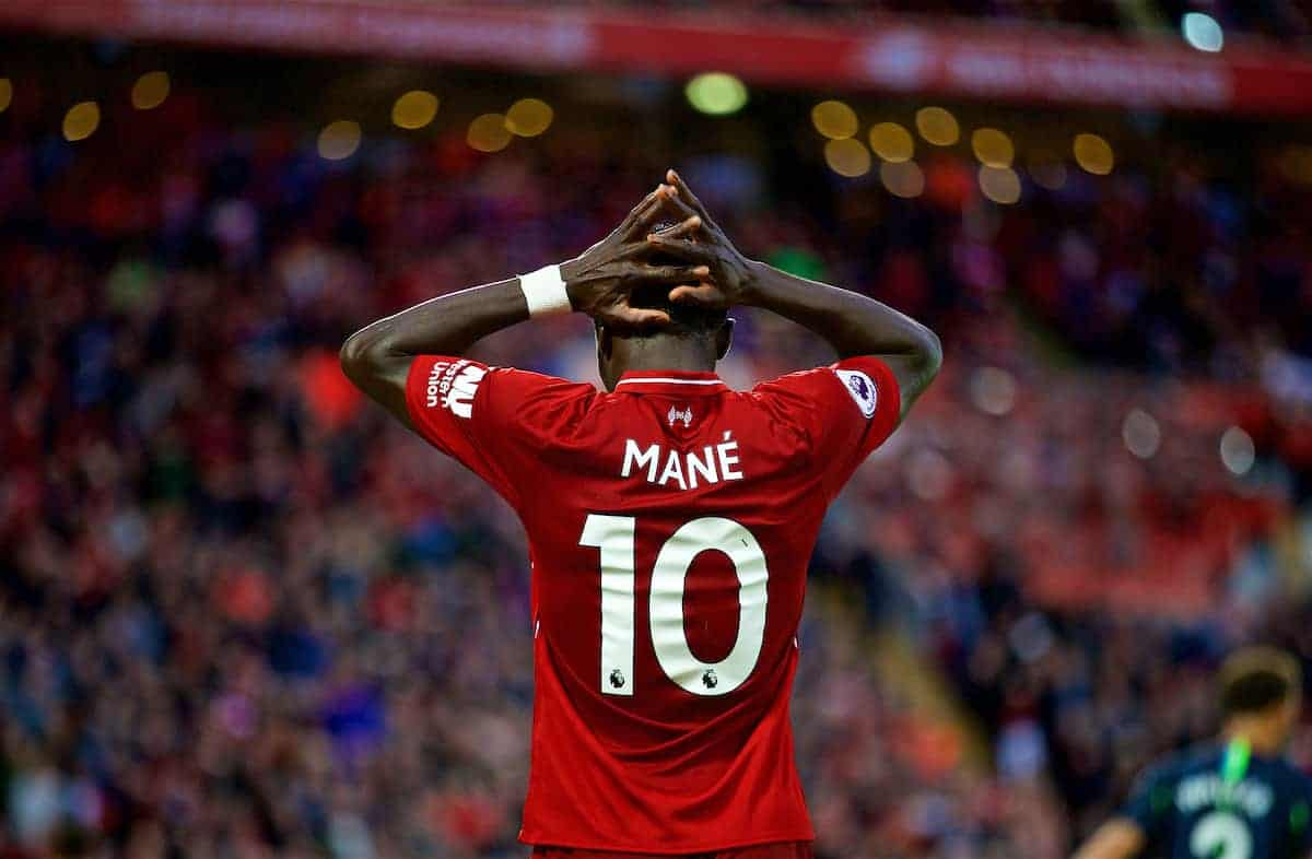 LIVERPOOL, ENGLAND - Sunday, October 7, 2018: Liverpool's Sadio Mane looks dejected after missing a chance during the FA Premier League match between Liverpool FC and Manchester City FC at Anfield. (Pic by David Rawcliffe/Propaganda)