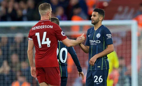 LIVERPOOL, ENGLAND - Sunday, October 7, 2018: Liverpool's captain Jordan Henderson (L) and Manchester City's Riyad Mahrez after during the FA Premier League match between Liverpool FC and Manchester City FC at Anfield. (Pic by David Rawcliffe/Propaganda)