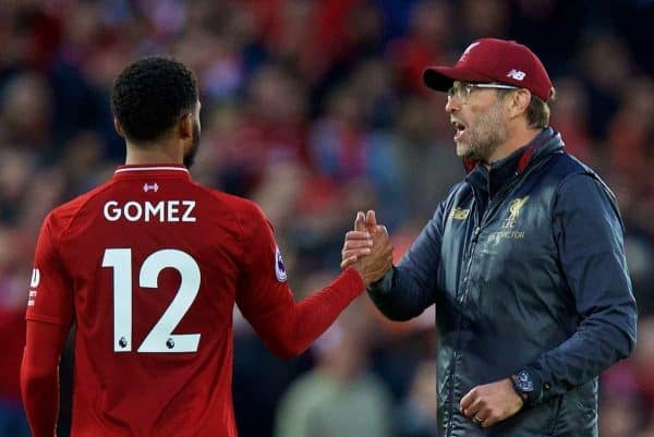 Liverpool's manager J¸rgen Klopp (R) and Joe Gomez after the FA Premier League match between Liverpool FC and Manchester City FC at Anfield. The game ended goal-less. (Pic by David Rawcliffe/Propaganda)