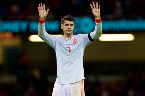 CARDIFF, WALES - Thursday, October 11, 2018: Spain's Álvaro Morata waves to the travelling supporters after the International Friendly match between Wales and Spain at the Principality Stadium. Spain won 4-1. (Pic by Laura Malkin/Propaganda)
