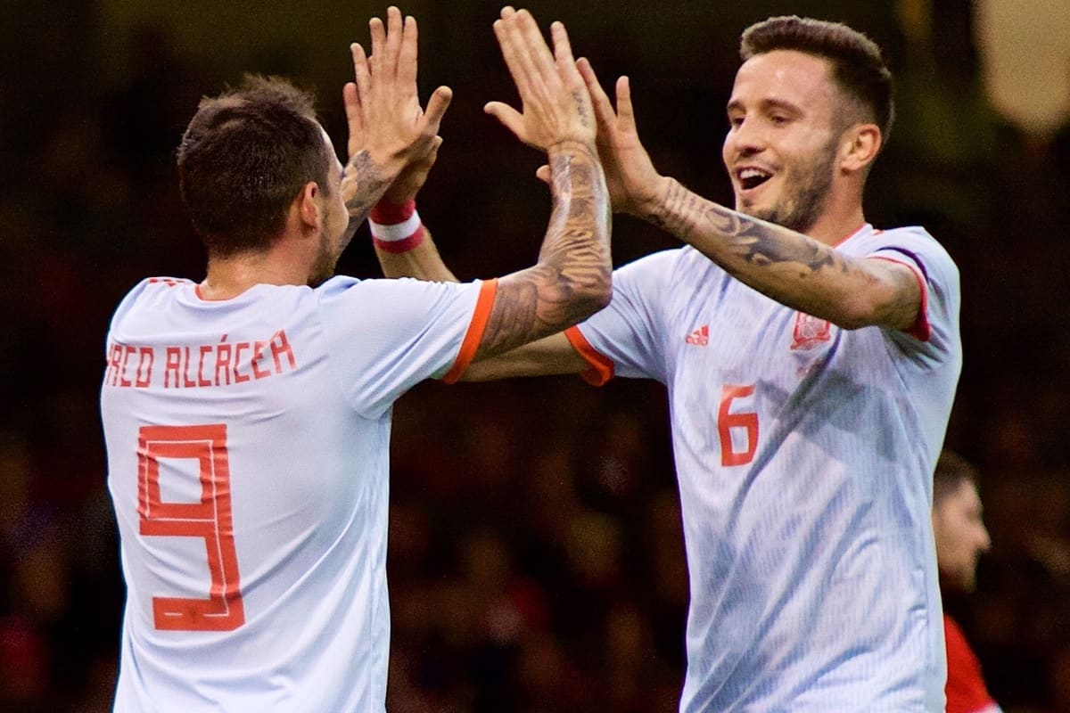 CARDIFF, WALES - Thursday, October 11, 2018: Spain's Paco Alcácer (L) celebrates scoring the third goal with team-mate Saúl Ñíguez Esclápez during the International Friendly match between Wales and Spain at the Principality Stadium. (Pic by Lewis Mitchell/Propaganda)
