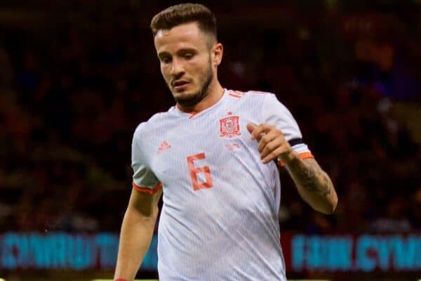 CARDIFF, WALES - Thursday, October 11, 2018: Spain's Saúl Ñíguez Esclápez during the International Friendly match between Wales and Spain at the Principality Stadium. (Pic by Lewis Mitchell/Propaganda)