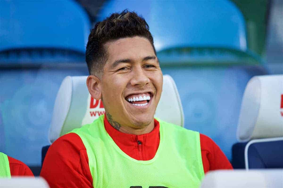 HUDDERSFIELD, ENGLAND - Saturday, October 20, 2018: Liverpool's substitute Roberto Firmino on the bench before the FA Premier League match between Huddersfield Town FC and Liverpool FC at Kirklees Stadium. (Pic by David Rawcliffe/Propaganda)