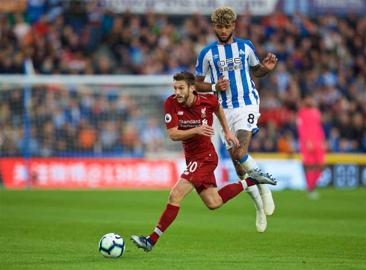 HUDDERSFIELD, ENGLAND - Saturday, October 20, 2018: Liverpool's Adam Lallana and Huddersfield Town's Philip Billing during the FA Premier League match between Huddersfield Town FC and Liverpool FC at Kirklees Stadium. (Pic by David Rawcliffe/Propaganda)