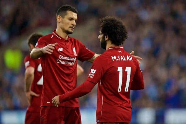 HUDDERSFIELD, ENGLAND - Saturday, October 20, 2018: Liverpool's Mohamed Salah (R) celebrates scoring the winning goal with team-mate Dejan Lovren during the FA Premier League match between Huddersfield Town FC and Liverpool FC at Kirklees Stadium. Liverpool won 1-0. (Pic by David Rawcliffe/Propaganda)