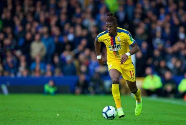 LIVERPOOL, ENGLAND - Sunday, October 21, 2018: Crystal Palace's Wilfried Zaha during the FA Premier League match between Everton FC and Crystal Palace FC at Goodison Park. (Pic by David Rawcliffe/Propaganda)