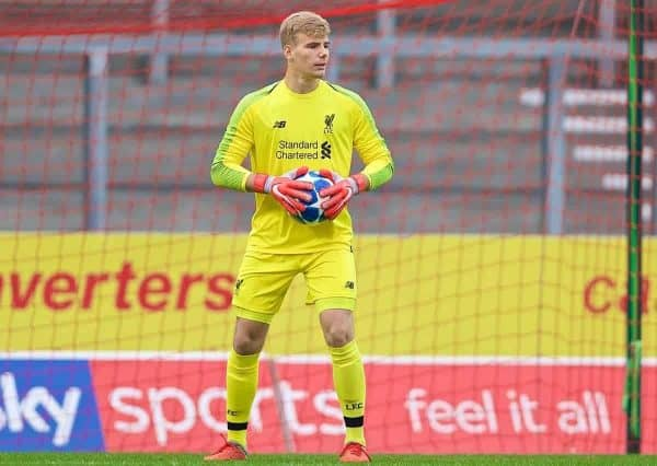 ST HELENS, ENGLAND - Wednesday, October 24, 2018: Liverpool's goalkeeper Vitezslav Jaros during the UEFA Youth League Group C match between Liverpool FC and FK Crvena zvezda at Langtree Park. (Pic by David Rawcliffe/Propaganda)