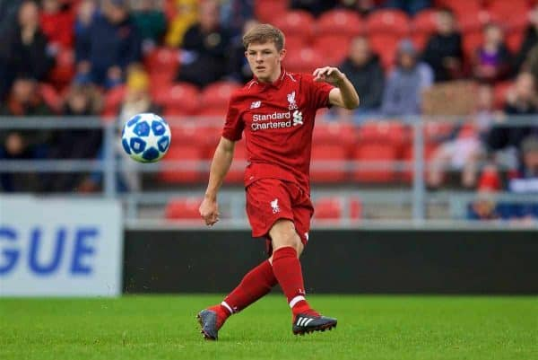ST HELENS, ENGLAND - Wednesday, October 24, 2018: Liverpool's Leighton Clarkson during the UEFA Youth League Group C match between Liverpool FC and FK Crvena zvezda at Langtree Park. (Pic by David Rawcliffe/Propaganda)