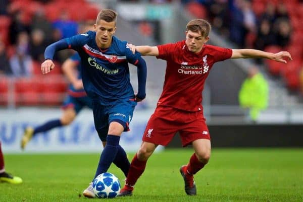 ST HELENS, ENGLAND - Wednesday, October 24, 2018: FK Crvena zvezda's Bogdan Jocic (L) and Liverpool's's Leighton Clarkson during the UEFA Youth League Group C match between Liverpool FC and FK Crvena zvezda at Langtree Park. (Pic by David Rawcliffe/Propaganda)