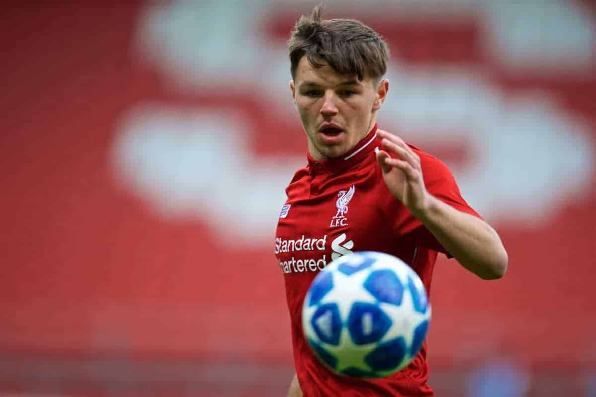 ST HELENS, ENGLAND - Wednesday,October 24, 2018: Liverpool's substitute Bobby Duncan during the UEFA Youth League Group C match between Liverpool FC and FK Crvena zvezda at Langtree Park. (Pic by David Rawcliffe/Propaganda)