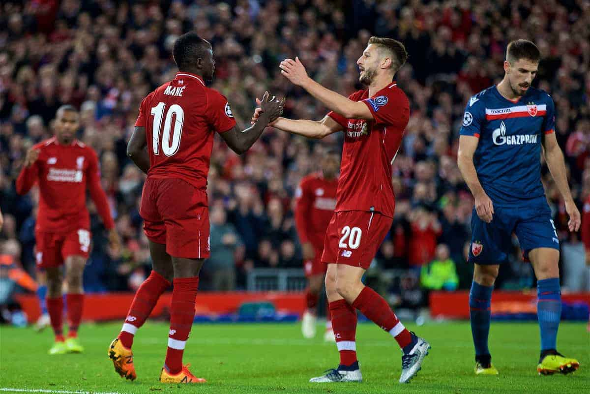 LIVERPOOL, ENGLAND - Wednesday, October 24, 2018: Liverpool's Sadio Mane (L) celebrates scoring the fourth goal with team-mate Adam Lallana during the UEFA Champions League Group C match between Liverpool FC and FK Crvena zvezda (Red Star Belgrade) at Anfield. (Pic by David Rawcliffe/Propaganda)