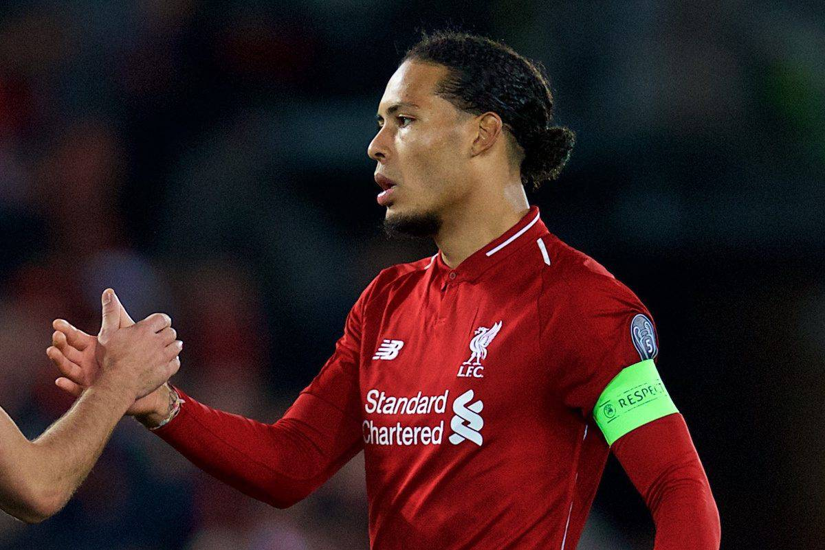 LIVERPOOL, ENGLAND - Wednesday, October 24, 2018: Liverpool's captain Virgil van Dijk (R) and FK Crvena zvezda Miloö Degenek after the UEFA Champions League Group C match between Liverpool FC and FK Crvena zvezda (Red Star Belgrade) at Anfield. Liverpool won 4-0. (Pic by David Rawcliffe/Propaganda)