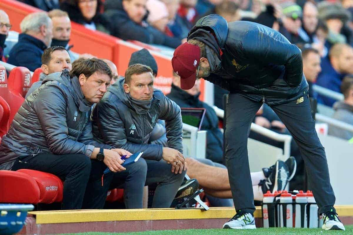 LIVERPOOL, ENGLAND - Saturday, October 27, 2018: Liverpool's manager J¸rgen Klopp consults first team coach Peter Krawietz (L) an first-team development coach Pepijn Lijnders (C) during the FA Premier League match between Liverpool FC and Cardiff City FC at Anfield. (Pic by David Rawcliffe/Propaganda)