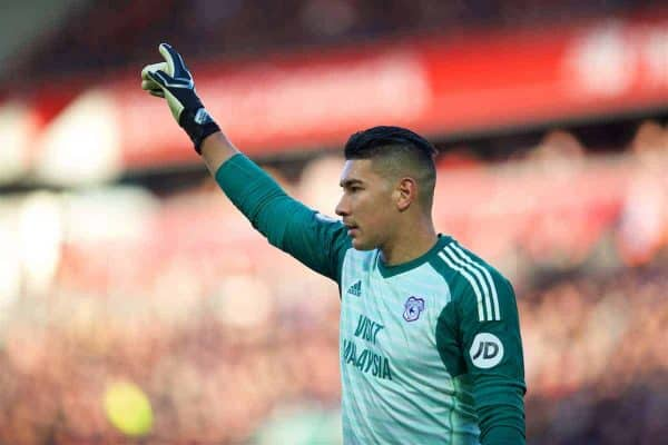 Cardiff City's goalkeeper Neil Etheridge during the FA Premier League match between Liverpool FC and Cardiff City FC at Anfield. (Pic by David Rawcliffe/Propaganda)