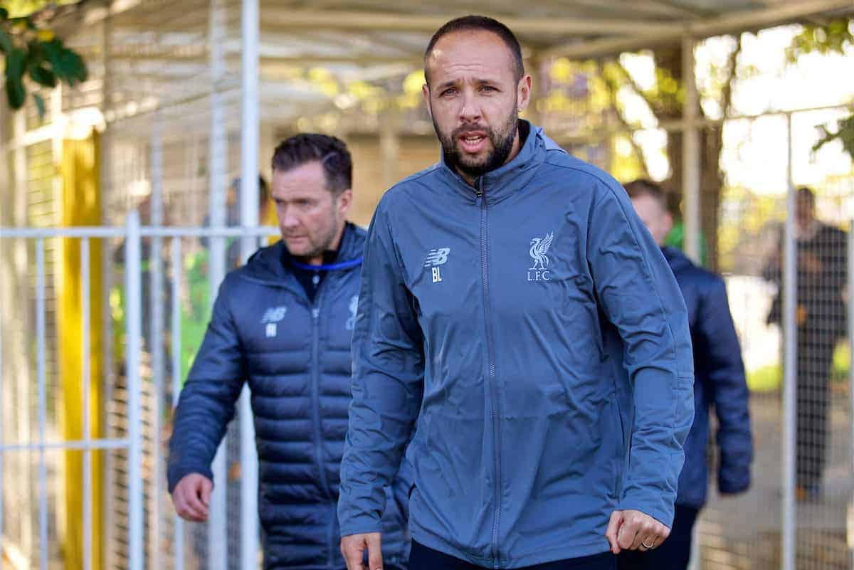 BELGRADE, SERBIA - Tuesday, November 6, 2018: Liverpool's manager Barry Lewtas before the UEFA Youth League Group C match between FK Crvena zvezda Under-19's and Liverpool FC Under-19's at ?ukari?ki Stadium. (Pic by David Rawcliffe/Propaganda)