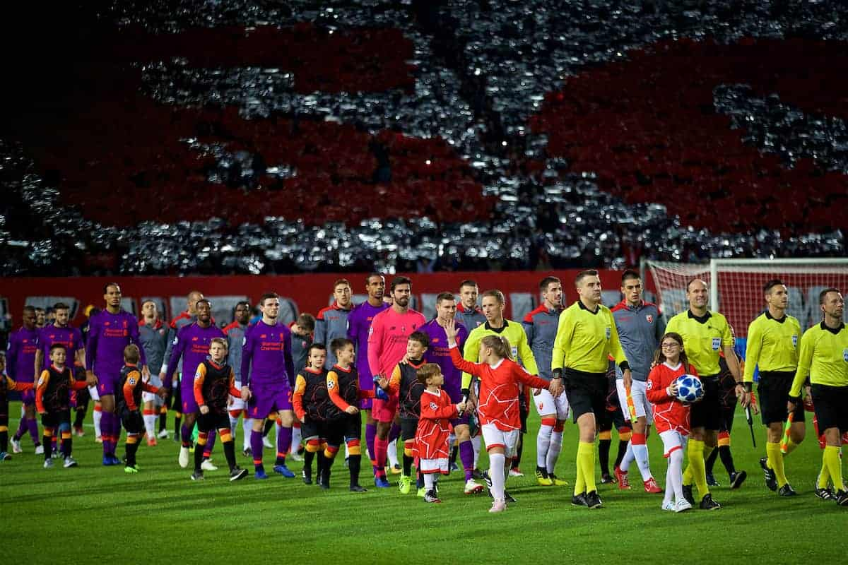 BELGRADE, SERBIA - Tuesday, November 6, 2018: Liverpool and FK Crvena zvezda players walk out before the UEFA Champions League Group C match between FK Crvena zvezda (Red Star Belgrade) and Liverpool FC at Stadion Rajko Miti?. (Pic by David Rawcliffe/Propaganda)