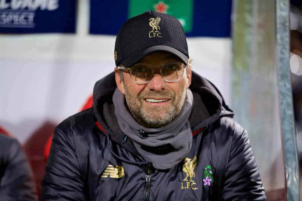 BELGRADE, SERBIA - Tuesday, November 6, 2018: Liverpool's manager Jürgen Klopp on the bench before the UEFA Champions League Group C match between FK Crvena zvezda (Red Star Belgrade) and Liverpool FC at Stadion Rajko Miti?. (Pic by David Rawcliffe/Propaganda)