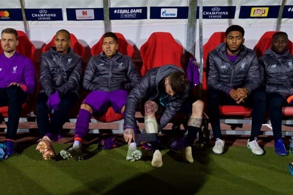 BELGRADE, SERBIA - Tuesday, November 6, 2018: Liverpool's substitutes goalkeeper Simon Mignolet, Fabio Henrique Tavares 'Fabinho', Roberto Firmino, Alberto Moreno and Joe Gomez on the bench before the UEFA Champions League Group C match between FK Crvena zvezda (Red Star Belgrade) and Liverpool FC at Stadion Rajko Miti?. (Pic by David Rawcliffe/Propaganda)