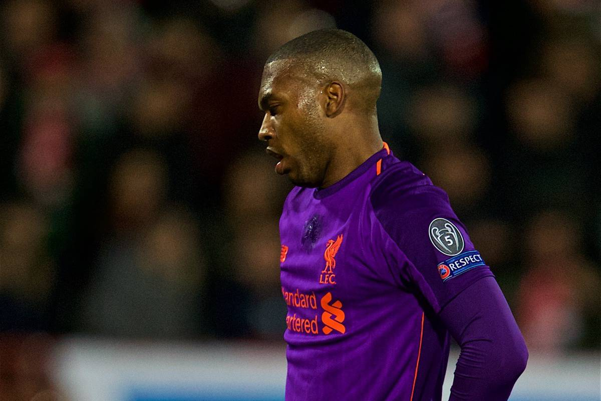 BELGRADE, SERBIA - Tuesday, November 6, 2018: Liverpool's Daniel Sturridge looks dejected after missing a chance during the UEFA Champions League Group C match between FK Crvena zvezda (Red Star Belgrade) and Liverpool FC at Stadion Rajko Miti?. (Pic by David Rawcliffe/Propaganda)