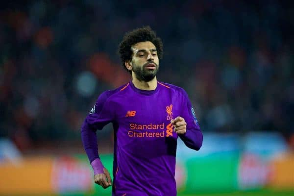 BELGRADE, SERBIA - Tuesday, November 6, 2018: Liverpool's Mohamed Salah during the UEFA Champions League Group C match between FK Crvena zvezda (Red Star Belgrade) and Liverpool FC at Stadion Rajko Miti?. (Pic by David Rawcliffe/Propaganda)