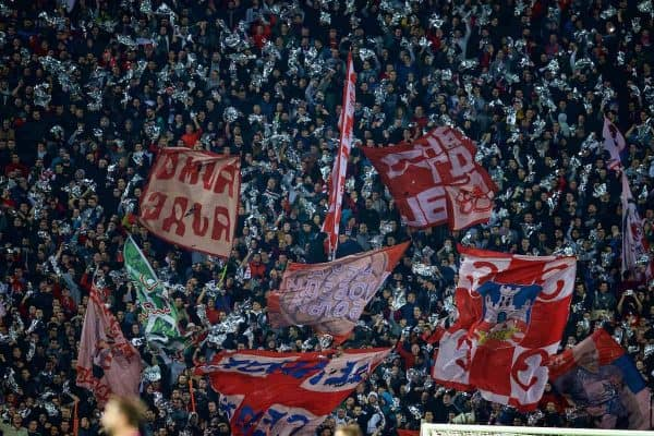 BELGRADE, SERBIA - Tuesday, November 6, 2018: FK Crvena zvezda supporters during the UEFA Champions League Group C match between FK Crvena zvezda (Red Star Belgrade) and Liverpool FC at Stadion Rajko Miti?. (Pic by David Rawcliffe/Propaganda)