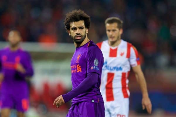 BELGRADE, SERBIA - Tuesday, November 6, 2018: Liverpool's Mohamed Salah looks dejected during the UEFA Champions League Group C match between FK Crvena zvezda (Red Star Belgrade) and Liverpool FC at Stadion Rajko Miti?. (Pic by David Rawcliffe/Propaganda)