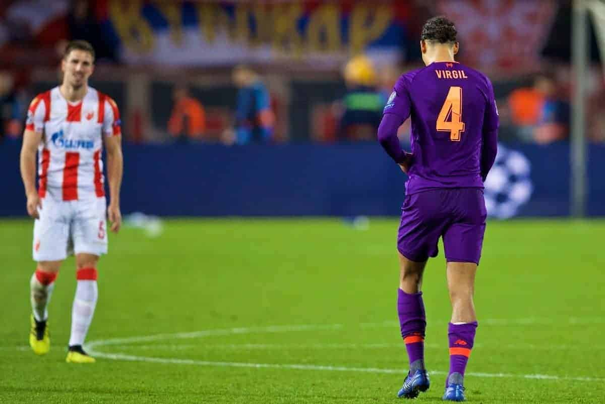 BELGRADE, SERBIA - Tuesday, November 6, 2018: Liverpool's Virgil van Dijk looks dejected after his side's 2-0 defeat during the UEFA Champions League Group C match between FK Crvena zvezda (Red Star Belgrade) and Liverpool FC at Stadion Rajko Miti?. (Pic by David Rawcliffe/Propaganda)
