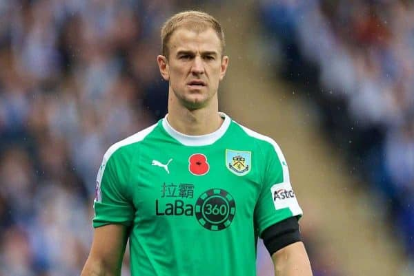 LEICESTER, ENGLAND - Saturday, November 10, 2018: Burnley's goalkeeper Joe Hart during the FA Premier League match between Leicester City FC and Burnley FC at the King Power Stadium. (Pic by David Rawcliffe/Propaganda)