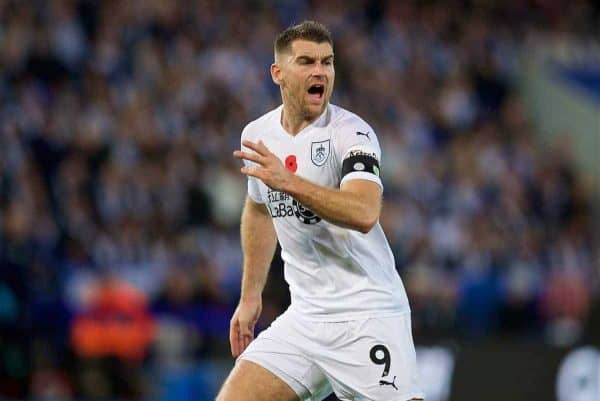 LEICESTER, ENGLAND - Saturday, November 10, 2018: Burnley's Sam Vokes during the FA Premier League match between Leicester City FC and Burnley FC at the King Power Stadium. (Pic by David Rawcliffe/Propaganda)