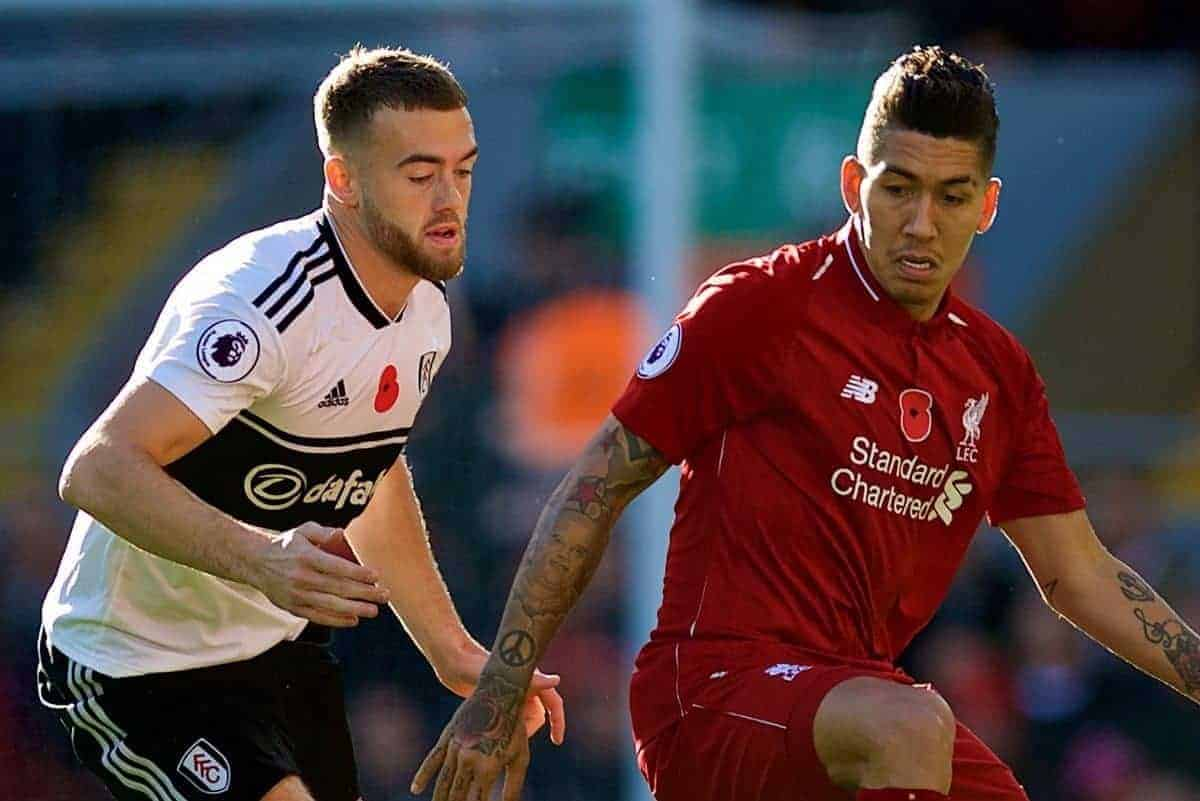 LIVERPOOL, ENGLAND - Sunday, November 11, 2018: Liverpool's Roberto Firmino (R) and Fulham's Kevin McDonald during the FA Premier League match between Liverpool FC and Fulham FC at Anfield. (Pic by David Rawcliffe/Propaganda)
