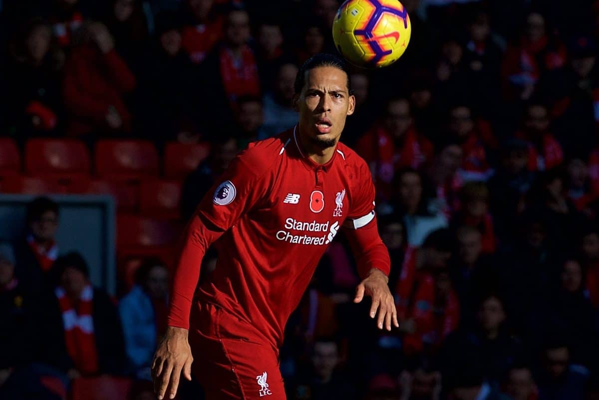 LIVERPOOL, ENGLAND - Sunday, November 11, 2018: Liverpool's Virgil van Dijk during the FA Premier League match between Liverpool FC and Fulham FC at Anfield. (Pic by David Rawcliffe/Propaganda)