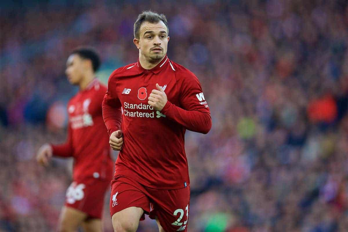 LIVERPOOL, ENGLAND - Sunday, November 11, 2018: Liverpool's Xherdan Shaqiri during the FA Premier League match between Liverpool FC and Fulham FC at Anfield. (Pic by David Rawcliffe/Propaganda)