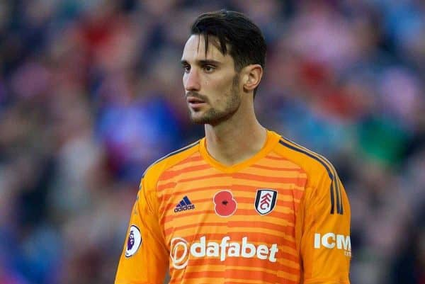 LIVERPOOL, ENGLAND - Sunday, November 11, 2018: Fulham's goalkeeper Sergio Rico during the FA Premier League match between Liverpool FC and Fulham FC at Anfield. (Pic by David Rawcliffe/Propaganda)
