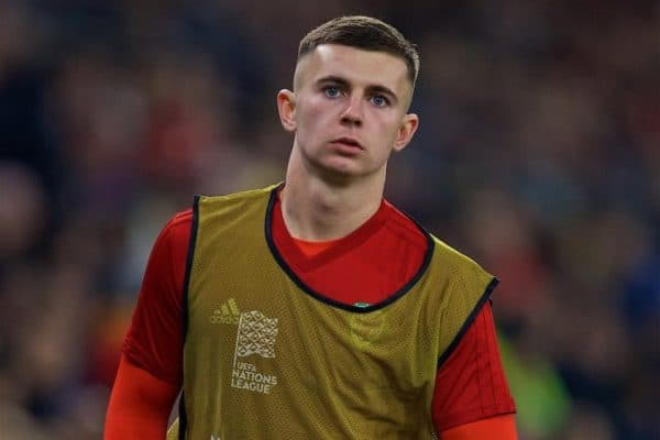 CARDIFF, WALES - Friday, November 16, 2018: Wales' substitute Ben Woodburn warms-up during the UEFA Nations League Group Stage League B Group 4 match between Wales and Denmark at the Cardiff City Stadium. (Pic by David Rawcliffe/Propaganda)